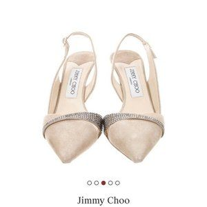 Jimmy Choo suede crystal embellishment Sling back